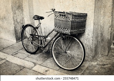Old vintage Italian bicycle with big basket