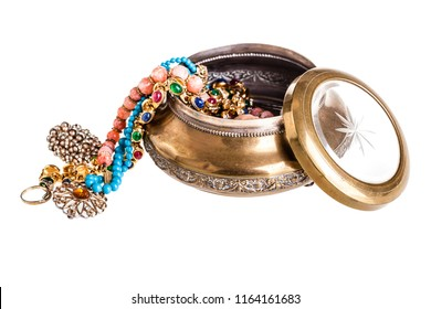 an old vintage jewelry small box isolated over a white background