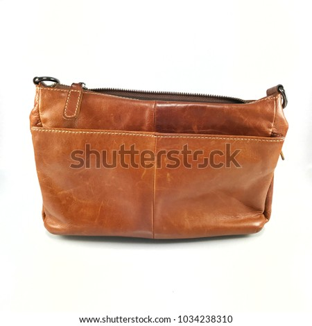 old vintage leather bag brown color casual fashion style with stitch line  texture and broken zipper 3e6e1632cbf8c
