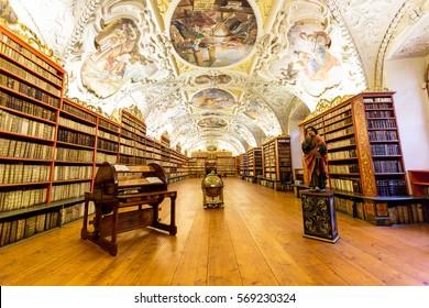 Old vintage library wood monastery