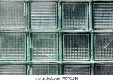 Old vintage light green hard glass tiles. Horizontal full frame background