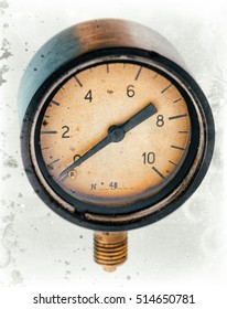The old vintage measuring device with a scale from 0 to 10, and the arrow is stuck at zero. Stylised as aged old b&w sepia toned photo. Industrial background.