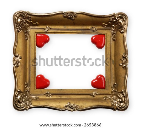 Old Vintage Metal Photo Frame Hearts Stock Photo (Edit Now) 2653866 ...