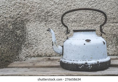 Old vintage metal teapot.