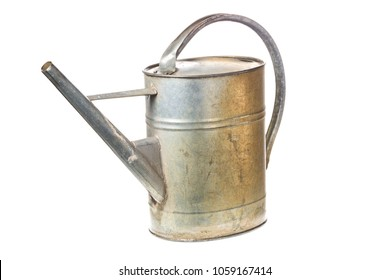 Old vintage metal watering can isolated on white background.