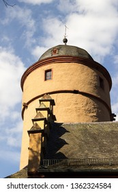 old vintage moated castle in Germany, Bavaria, Spessart, Mespelbrunn, detail shot of the tower, close up shot