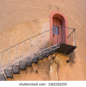 old vintage moated castle in Germany, Bavaria, Spessart, Mespelbrunn, detail shot of the iron tower stair, close up shot