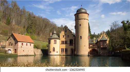 old vintage moated castle in Germany, Bavaria, Spessart, Mespelbrunn (panoramic view shot