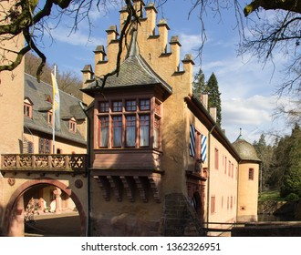 old vintage moated castle in Germany, Bavaria, Spessart, Mespelbrunn, detail shot of the tower windows