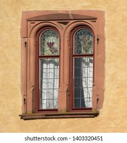 old vintage moated castle in Germany, Bavaria, Spessart, Mespelbrunn, detail shot of the windows, close up shot