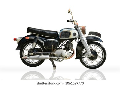 The old vintage motorbike isolated on a white background with clipping path.