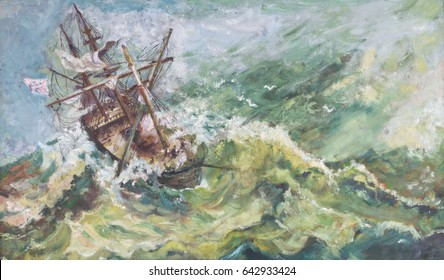 Old vintage nautical coastal landscape ship oil painting with the sail boat breaking up in stormy sea