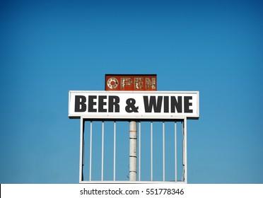 old vintage neon  beer and wine sign