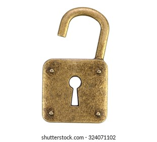 Old, vintage padlock ( open )isolated on white background