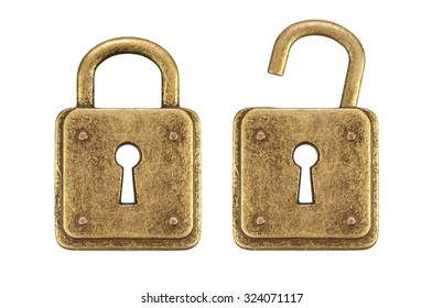 Old, vintage padlocks ( locked and unlocked  ) isolated on white background