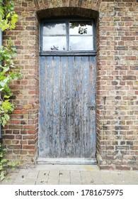 old vintage painted door in blue