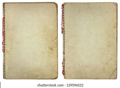 Old vintage paper spiral notebooks isolated on white background