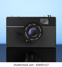 Old Vintage Photo Camera on a blue background. 3d Rendering.