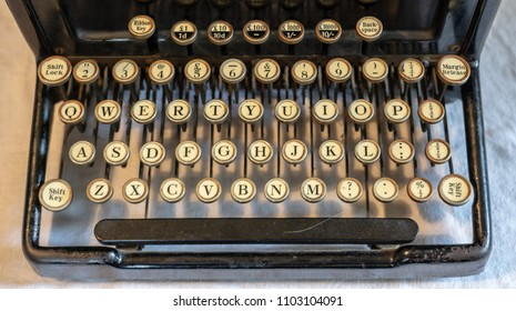 Old vintage portable typewriter with qwerty type keys and financial accounting key in UK pounds sterling