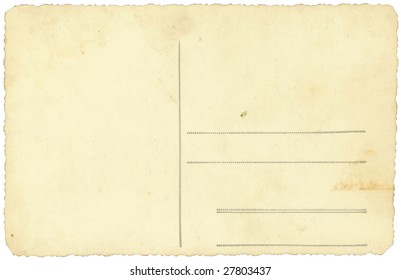 old vintage postcard isolated on white