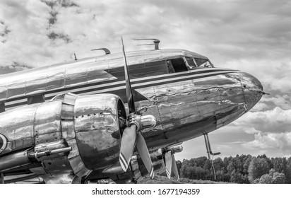Old vintage propeller airplane on runway