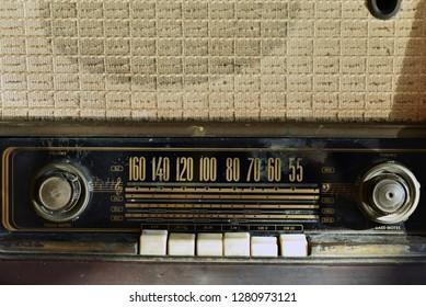 old vintage radio closeup button