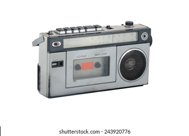 old and vintage radio on white background