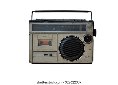 Old vintage radio on white background