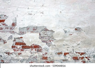Old Vintage Red Brick Wall With Crashed White Plaster Texture Background. White Retro Building Brickwork Wallpaper. Grunge Street Exterior Surface.