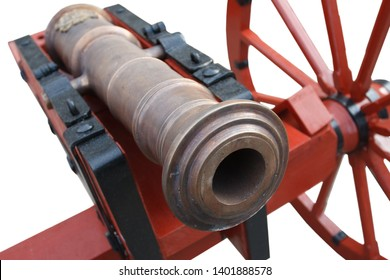 old vintage red gunpowder post-medieval artillery cannon isolated on white background