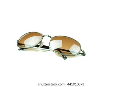 old vintage retro black sunglasses isolated on white