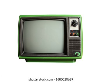 Old vintage retro green TV isolated on white background