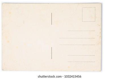 Old vintage retro postcard on the white background