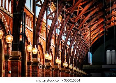 Old vintage roof structure at train station in Copenhagen, Denmark