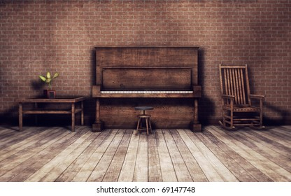 old vintage room with piano