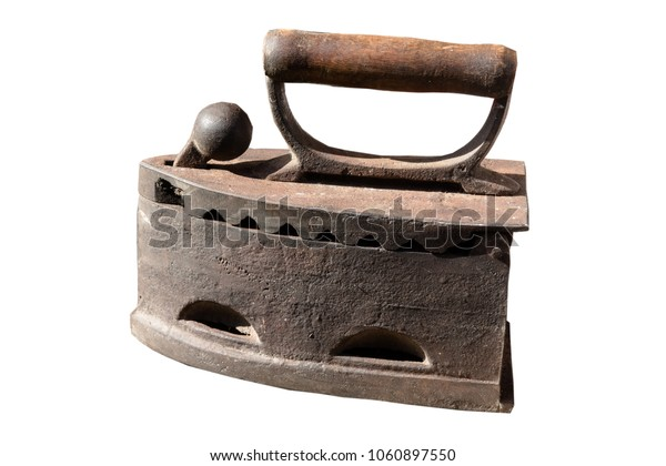 Old vintage rusty iron isolated on a white background.
