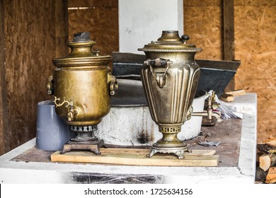 Old vintage samovar close up