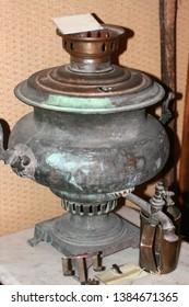 Old vintage samovar. Russian antique samovar for tea.