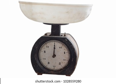 old and vintage scales, white background, isolated