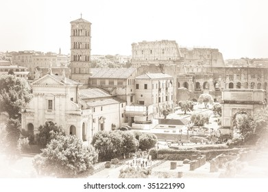 Old vintage sepia postcard style of Roman Forum with Coloseum in Rome, Italy, with a white artistic vignette