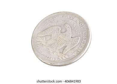 old vintage silver dollar isolated on background