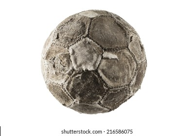 Old and vintage soccer ball isolated on white background.