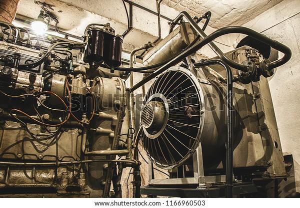 Old Vintage Soviet Diesel Generator Located Stock Photo (Edit Now