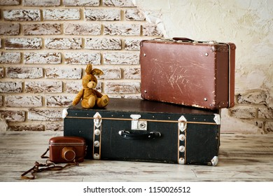 old vintage suitcase in the concrete light room
