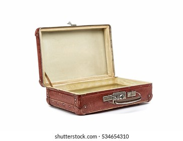 Old vintage suitcase opened front isolated on white
