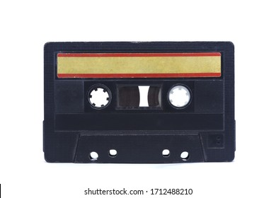 old vintage tape audio cassette with stickers on white isolated background layout. retro vintage 80's 90's music concept