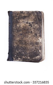 Old vintage tattered book isolated white background