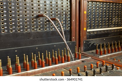 Old vintage telephone switchboard.