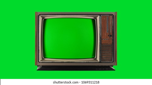 Old Vintage Television with green screen for chroma key