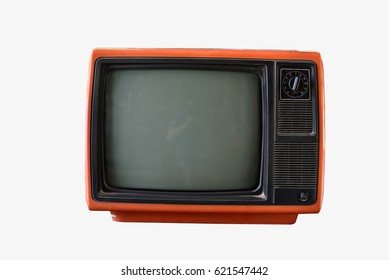 Old vintage television on white background